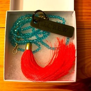 J. Crew Orange Blue Beaded Tassel Necklace, NWT